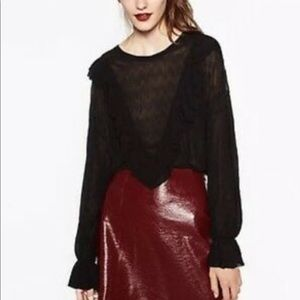 New Zara black long sleeve blouse ruffle Victorian